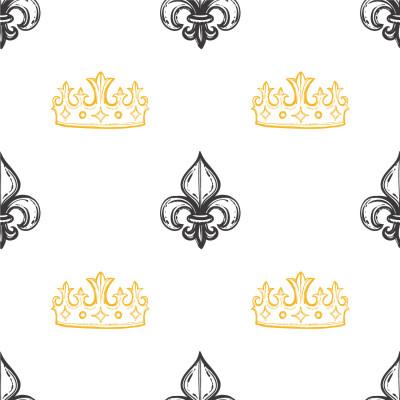 Papel de Parede Infantil de Flor de Lis e Coroa