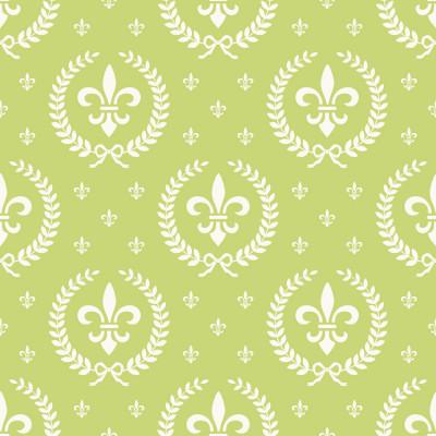 Papel de Parede Flor de Lis (Verde Limão)