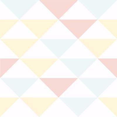 Papel de Parede Triângulos Rosa Azul e Amarelo