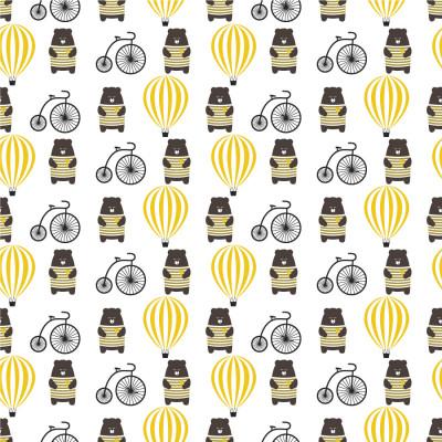 Papel de Parede Infantil Ursinho Balão Bicicleta Amarelo