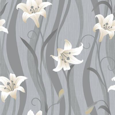 Papel de Parede Flores Lírios (Branco)