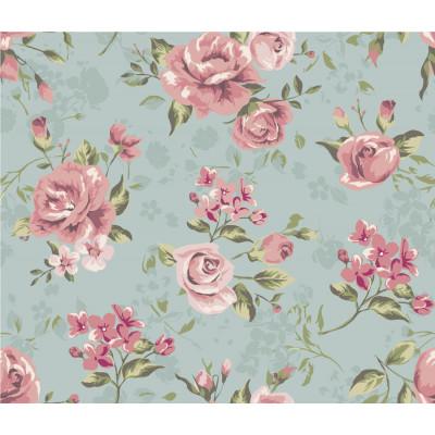 Papel de Parede Fundo Azul com Flores Rosas