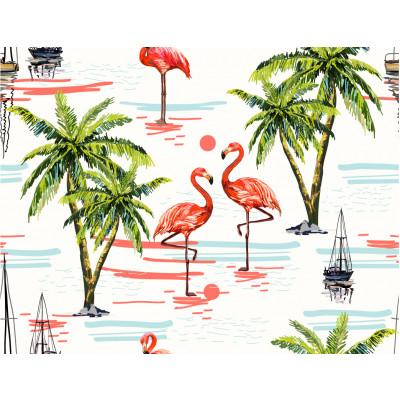 Papel de Parede Tropical Coqueiro e Flamingos