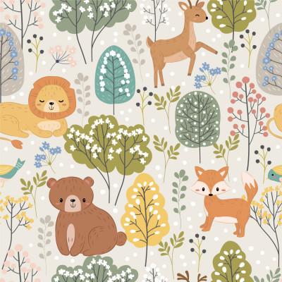 Papel de Parede Infantil Floresta com Animais