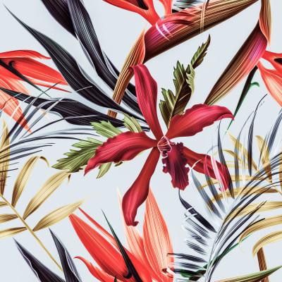 Papel de Parede Flores Vermelhas Tropicais