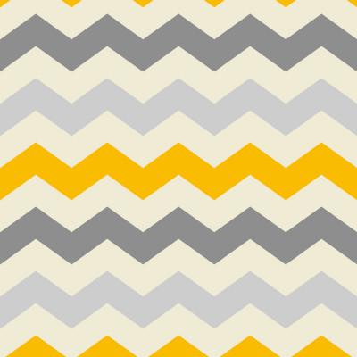 Papel de Parede Círculos Chevron Tons de Cinza e Amarelo