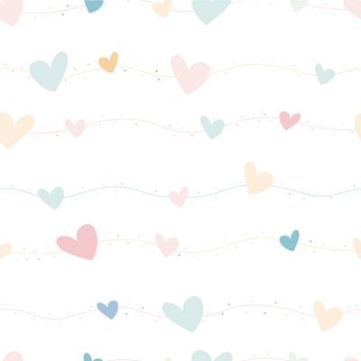 Papel de Parede Infantil Corações (Tons Claros)
