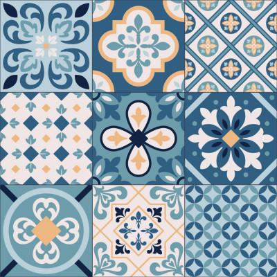 Papel de Parede Azulejo Português Azul