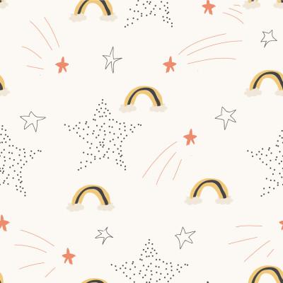 Papel de Parede Arco-íris e Estrelas Infantil
