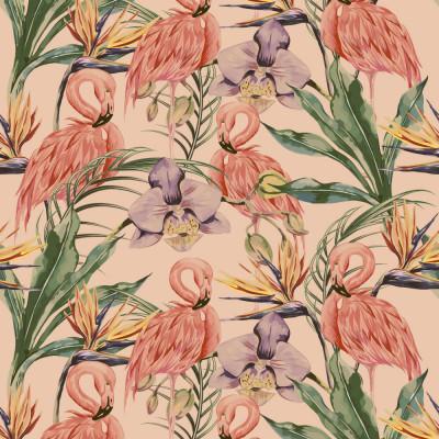 Papel de Parede Flamingos e Folhas