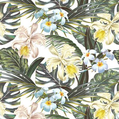 Papel de Parede Tropical Flores e Folhas