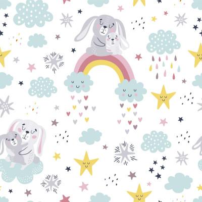 Papel de Parede Infantil Coelhos com Arco-íris