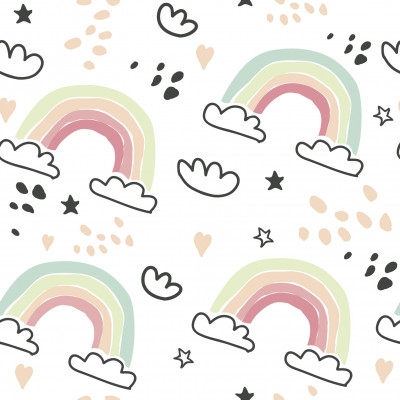 Papel de Parede Infantil Nuvens e Arco-íris Delicados
