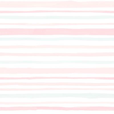 Papel de Parede Tons de Rosa e Verde com Listras Assimétricas