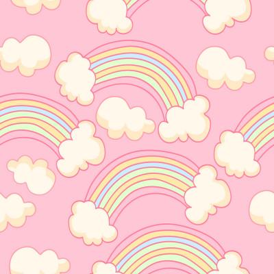 Papel de Parede Infantil Nuvens e Arco-íris (Rosa)