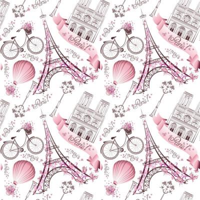 Papel de Parede Torre Eiffel Rosa