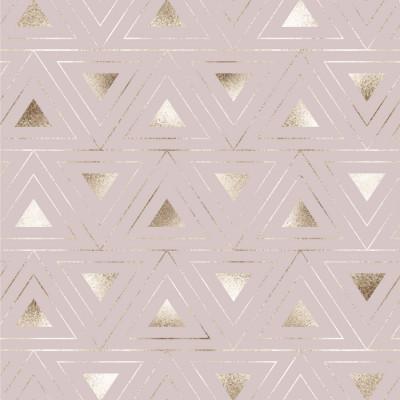 Papel de Parede Rose Dourado com Triângulos Dourados