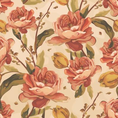 Papel de Parede Floral Rosas Vintage