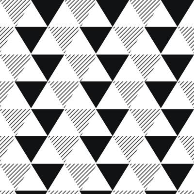 Papel de Parede Triângulos Listrados Preto e Branco