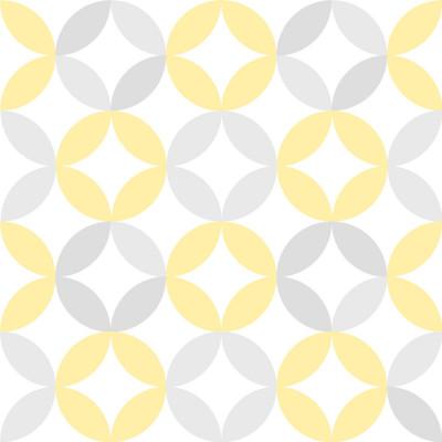 Papel de Parede Infantil Círculos Abstratos (Amarelo e Cinza)