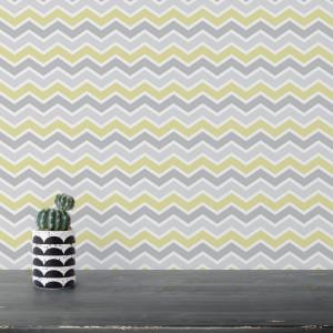 Papel de Parede Adesivo Chevron Cinza e Verde - Amarelo Limão